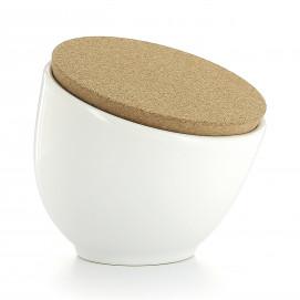 Porcelain salt pot with cork lid - White
