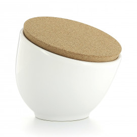 Porcelain salt pot with cork lid - White
