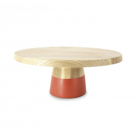 Tart dish with wood base - Capucine Orange