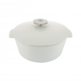 Round casserole dish in ceramics, non-induction - Kilimandjaro White