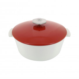Round casserole dish in ceramics, non-induction - Pepper Red