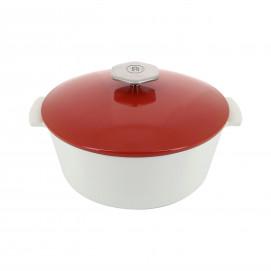 Round casserole dish in ceramics, non-induction - Pepper Red