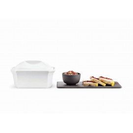 Rectangular white porcelain pâté terrine dish with lid