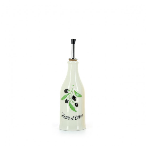 Porcelain olive oil bottle Provence-style 25 cl